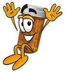 Clip Art Graphic of a Medication Prescription Pill Bottle Cartoon Character Jumping