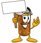 Clip Art Graphic of a Medication Prescription Pill Bottle Cartoon Character Holding a Blank Sign