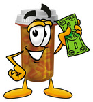 Clip Art Graphic of a Medication Prescription Pill Bottle Cartoon Character Holding a Dollar Bill