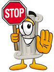 Clip Art Graphic of a Pillar Cartoon Character Holding a Stop Sign