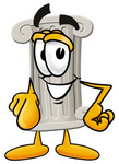 Clip Art Graphic of a Pillar Cartoon Character Pointing at the Viewer