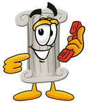 Clip Art Graphic of a Pillar Cartoon Character Holding a Telephone