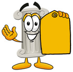 Clip Art Graphic of a Pillar Cartoon Character Holding a Yellow Sales Price Tag