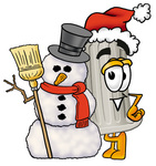 Clip Art Graphic of a Pillar Cartoon Character With a Snowman on Christmas