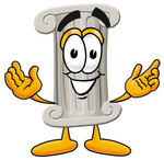 Clip Art Graphic of a Pillar Cartoon Character With Welcoming Open Arms