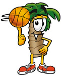Clip Art Graphic of a Tropical Palm Tree Cartoon Character Spinning a Basketball on His Finger