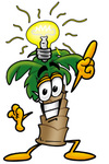Clip Art Graphic of a Tropical Palm Tree Cartoon Character With a Bright Idea