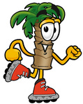 Clip Art Graphic of a Tropical Palm Tree Cartoon Character Roller Blading on Inline Skates