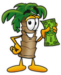 Clip Art Graphic of a Tropical Palm Tree Cartoon Character Holding a Dollar Bill