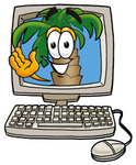 Clip Art Graphic of a Tropical Palm Tree Cartoon Character Waving From Inside a Computer Screen