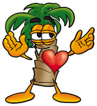 Clip Art Graphic of a Tropical Palm Tree Cartoon Character With His Heart Beating Out of His Chest
