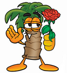 Clip Art Graphic of a Tropical Palm Tree Cartoon Character Holding a Red Rose on Valentines Day