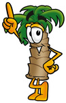Clip Art Graphic of a Tropical Palm Tree Cartoon Character Pointing Upwards