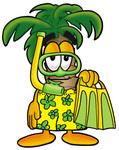 Clip Art Graphic of a Tropical Palm Tree Cartoon Character in Green and Yellow Snorkel Gear