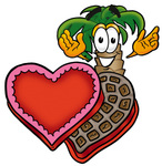 Clip Art Graphic of a Tropical Palm Tree Cartoon Character With an Open Box of Valentines Day Chocolate Candies