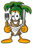 Clip Art Graphic of a Tropical Palm Tree Cartoon Character Holding a Knife and Fork