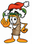 Clip Art Graphic of a Tropical Palm Tree Cartoon Character Wearing a Santa Hat and Waving