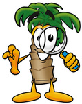 Clip Art Graphic of a Tropical Palm Tree Cartoon Character Looking Through a Magnifying Glass