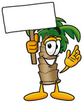 Clip Art Graphic of a Tropical Palm Tree Cartoon Character Holding a Blank Sign