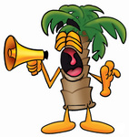 Clip Art Graphic of a Tropical Palm Tree Cartoon Character Screaming Into a Megaphone