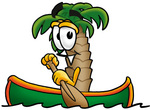 Clip Art Graphic of a Tropical Palm Tree Cartoon Character Rowing a Boat
