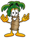 Clip Art Graphic of a Tropical Palm Tree Cartoon Character With Welcoming Open Arms