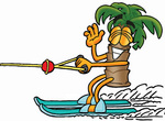 Clip Art Graphic of a Tropical Palm Tree Cartoon Character Waving While Water Skiing