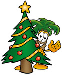 Clip Art Graphic of a Tropical Palm Tree Cartoon Character Waving and Standing by a Decorated Christmas Tree