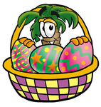 Clip Art Graphic of a Tropical Palm Tree Cartoon Character in an Easter Basket Full of Decorated Easter Eggs