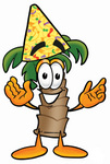 Clip Art Graphic of a Tropical Palm Tree Cartoon Character Wearing a Birthday Party Hat