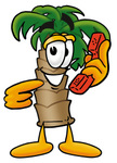 Clip Art Graphic of a Tropical Palm Tree Cartoon Character Holding a Telephone