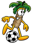 Clip Art Graphic of a Tropical Palm Tree Cartoon Character Kicking a Soccer Ball