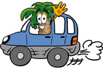 Clip Art Graphic of a Tropical Palm Tree Cartoon Character Driving a Blue Car and Waving