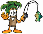 Clip Art Graphic of a Tropical Palm Tree Cartoon Character Holding a Fish on a Fishing Pole