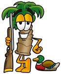 Clip Art Graphic of a Tropical Palm Tree Cartoon Character Duck Hunting, Standing With a Rifle and Duck