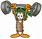 Clip Art Graphic of a Tropical Palm Tree Cartoon Character Holding a Heavy Barbell Above His Head