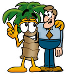 Clip Art Graphic of a Tropical Palm Tree Cartoon Character Talking to a Business Man