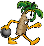 Clip Art Graphic of a Tropical Palm Tree Cartoon Character Holding a Bowling Ball