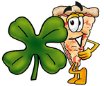 Clip Art Graphic of a Cheese Pizza Slice Cartoon Character With a Green Four Leaf Clover on St Paddy's or St Patricks Day
