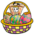 Clip Art Graphic of a Cheese Pizza Slice Cartoon Character in an Easter Basket Full of Decorated Easter Eggs