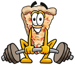 Clip Art Graphic of a Cheese Pizza Slice Cartoon Character Lifting a Heavy Barbell