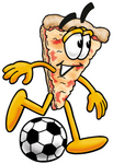 Clip Art Graphic of a Cheese Pizza Slice Cartoon Character Kicking a Soccer Ball