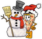 Clip Art Graphic of a Cheese Pizza Slice Cartoon Character With a Snowman on Christmas