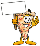 Clip Art Graphic of a Cheese Pizza Slice Cartoon Character Holding a Blank Sign