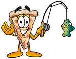 Clip Art Graphic of a Cheese Pizza Slice Cartoon Character Holding a Fish on a Fishing Pole