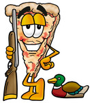 Clip Art Graphic of a Cheese Pizza Slice Cartoon Character Duck Hunting, Standing With a Rifle and Duck
