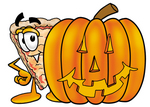 Clip Art Graphic of a Cheese Pizza Slice Cartoon Character With a Carved Halloween Pumpkin