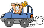 Clip Art Graphic of a Cheese Pizza Slice Cartoon Character Driving a Blue Car and Waving