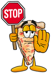 Clip Art Graphic of a Cheese Pizza Slice Cartoon Character Holding a Stop Sign