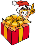 Clip Art Graphic of a Cheese Pizza Slice Cartoon Character Standing by a Christmas Present